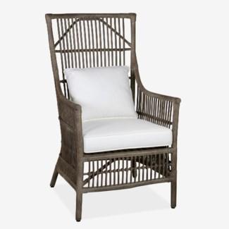 Winston Rattan High Back Arm Chair - Grey (24x27x43)
