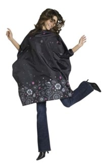 Nylon Cutting Cape Black W/Floral Print