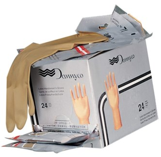 "Brown Latex Gloves 7"" 1pr MEDIUM FULL"