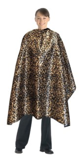 Leopard Print Poly Satin Cutting Cape