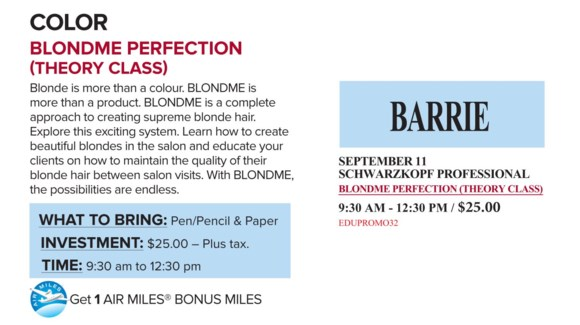 ! SCH BLONDME PERFECT SEP 11/17 + AM BAR