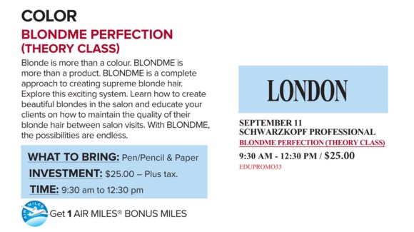 ! SCH BLONDME PERFECT SEP 11/17 + AM LON