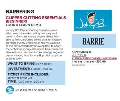 ! JB CLIPPER CUT BEGIN SEP18/17 + AM BAR