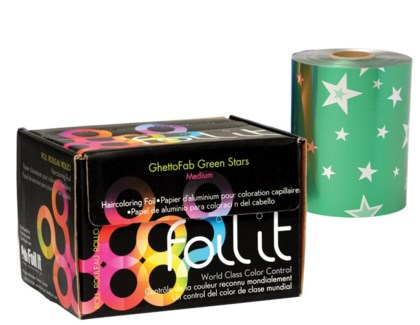 5LB Roll Ghetto Fab Green Stars Med FOIL
