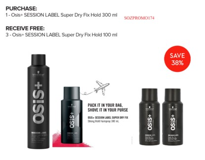 ! 3+1 Osis+ SESSION LABEL Super Dry Fix