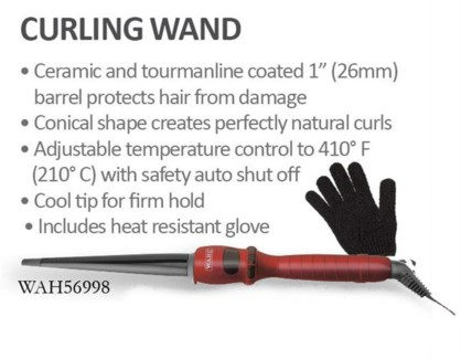 """Wahl 1"""" Curling Wand W/Glove 26mm 56998"""