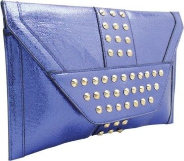 Studded Metallic Oversized Envelope Clutch Blue