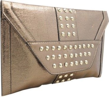 Studded Metallic Oversized Envelope Clutch Brown