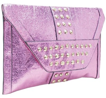 Studded Metallic Oversized Envelope Clutch Pink