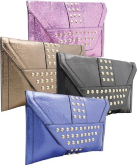 Studded Metallic Oversized Envelope Clutch Mix
