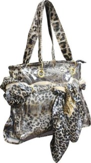 Animal Print Office Tote with Animal Print Scarf Weave