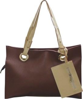 Accordion Laptop Bag with Wristlet Brown