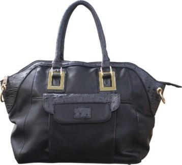 Ostrich Trim Handbag Black