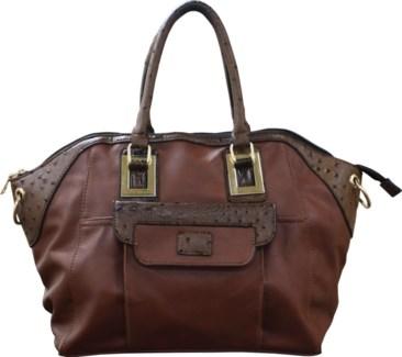 Ostrich Trim Handbag Brown