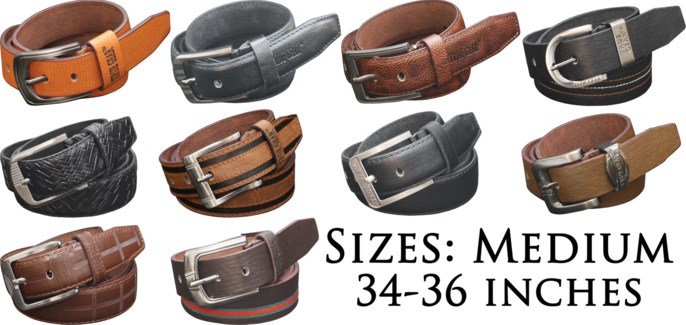 Assorted Men's Leather Belts - Medium