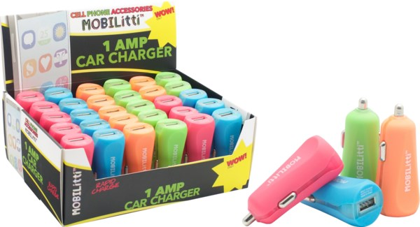 Mobilitti 1 Amp Bullet Car Charger in Tower Display