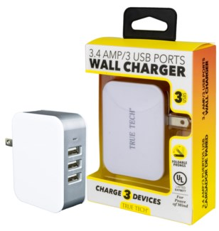 3.4 Amp 3 USB Ports Wall Charger UL Listed