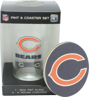 BEARS PINT & COASTER SET