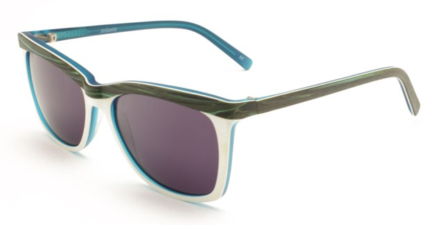 Atlantis Luxury Handmade Sunglasses (Blue/Brown wood grain/White /Matte Blue)