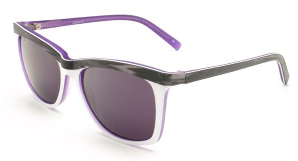 Atlantis Luxury Handmade Sunglasses (Purple Brown wood grain/White/Matte Blue)