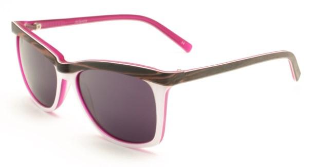 Atlantis Luxury Handmade Sunglasses (Pink Brown wood grain/White/Matte Blue)