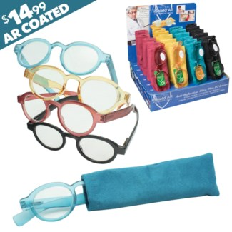 iShield Colorful Retro Reading Glasses with Matching Case - Saffi