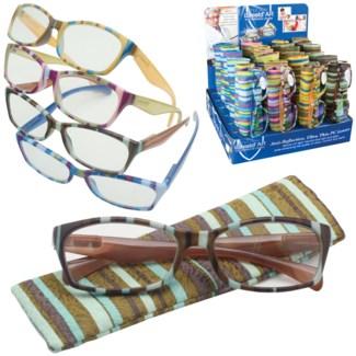 iShield Striking Stripe Reading Glasses with Matching Case - Margaret