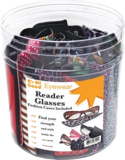 Readers in Fashion Pouch in 30 pc Tub Display
