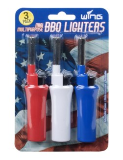 3308 3pk Red, White and Blue Mini BBQ Lighters 12/240 - New Item - Pre-Book