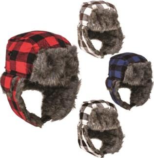 Plaid Fleece Earmuff Cap
