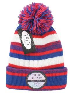 True Gear Pom Pom Cap - Red/Royal Blue/White
