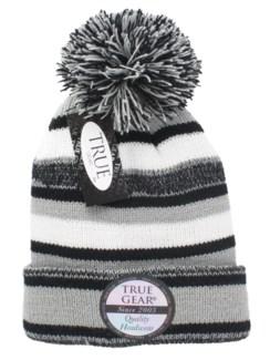 True Gear Pom Beanie - Black/White/Gray