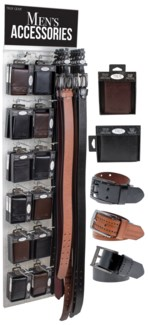 Men's Leather 36 Wallets and 36 Belts on a Clear Panel Display